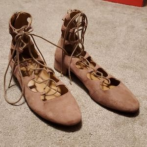 Lace Up Kitten Heels Shoes